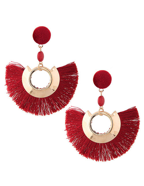 ALB Red Gold Half Tassel Earrings