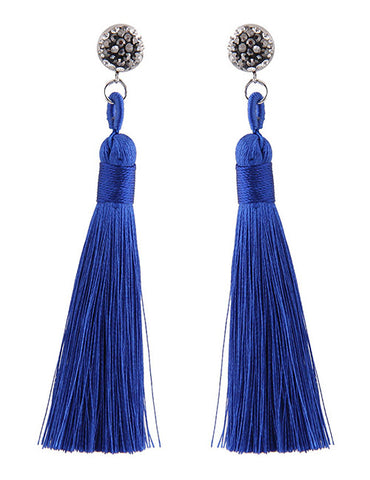 ALB Blue Diamante Tassel Earrings