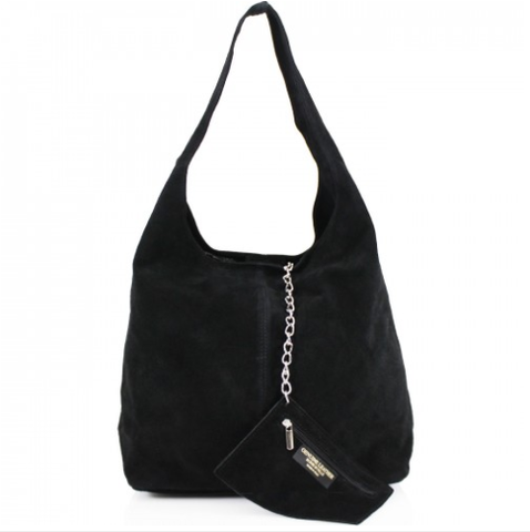 944496cc143 ALB Black Real Suede Slouch Bag