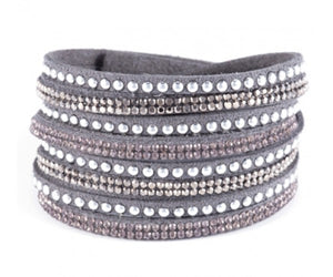 ALB Grey Diamante Wrap Bracelet