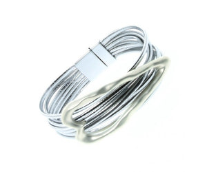 ALB Silver Heart Leather Magnetic Bracelet