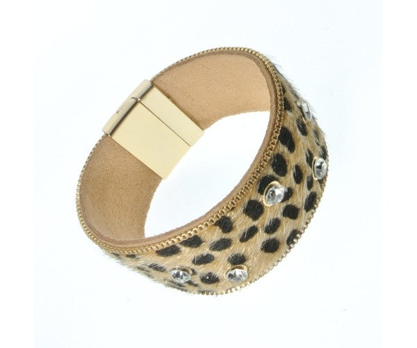 ALB Gold Leopard Diamante Magnetic Bracelet