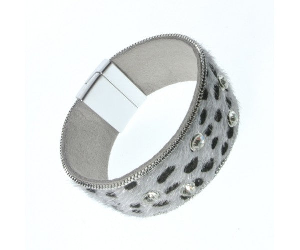 ALB Grey Leopard Diamante Magnetic Bracelet