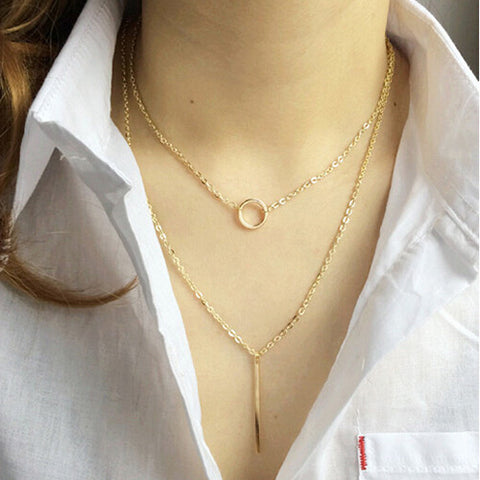 ALB Circle Pin Gold Layered Necklace