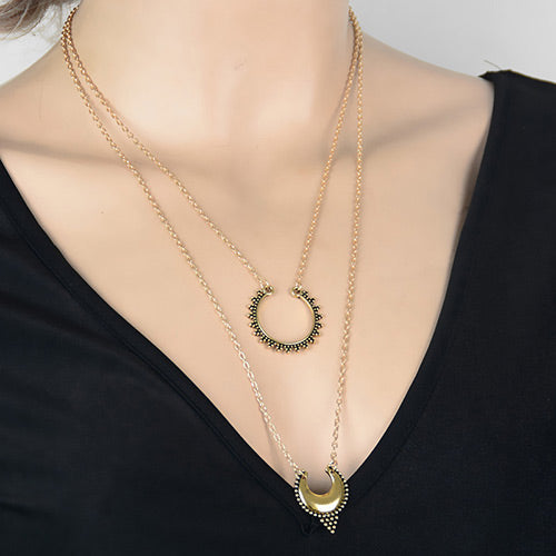 ALB Tribal Gold Layered Necklace