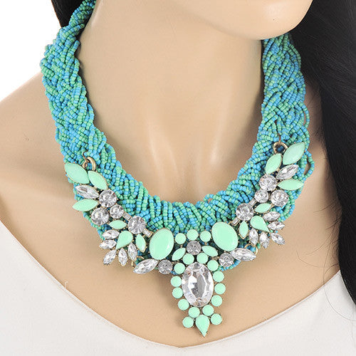 ALB Turquoise Green Beaded Flower Necklace