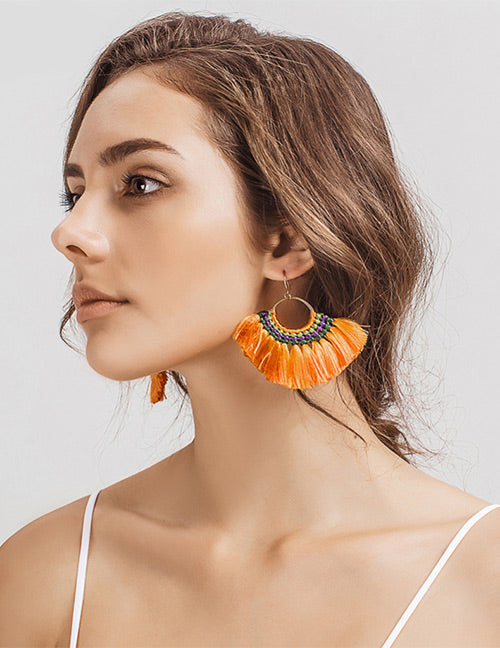 ALB Orange Boho Tassel Earrings