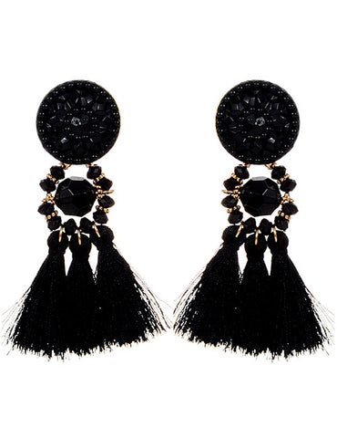 ALB Black Grace Tassel Earrings