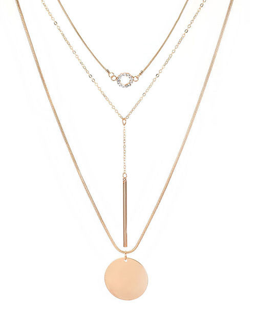 ALB Diamante Circle Pin Gold Layered Necklace