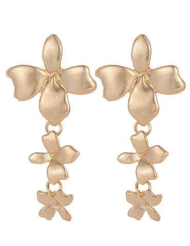 ALB Gold Flower Orchid Stud Earrings