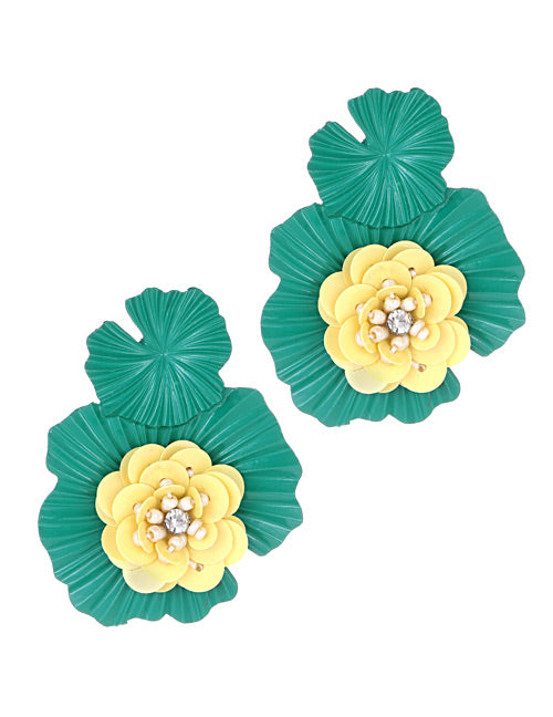 ALB Green Yellow Flower Stud Earrings