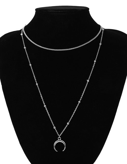 ALB Half Moon Silver 2 Layered Necklace