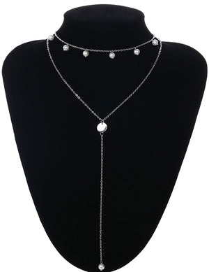 ALB Silver Pearl 2 Layer Necklace