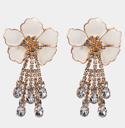 ALB White Flower Diamante Earrings