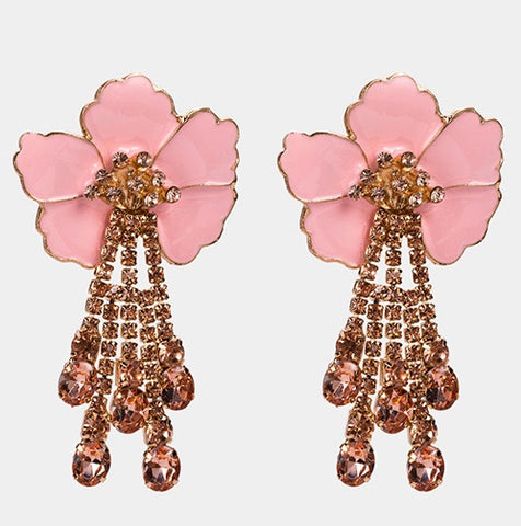 ALB Pink Flower Diamante Earrings