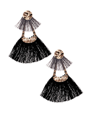 ALB Black Gold Double Tassel Earrings