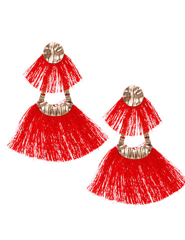 ALB Red Gold Double Tassel Earrings