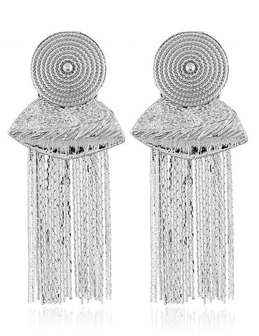 ALB Silver Grecian Tassel Earrings
