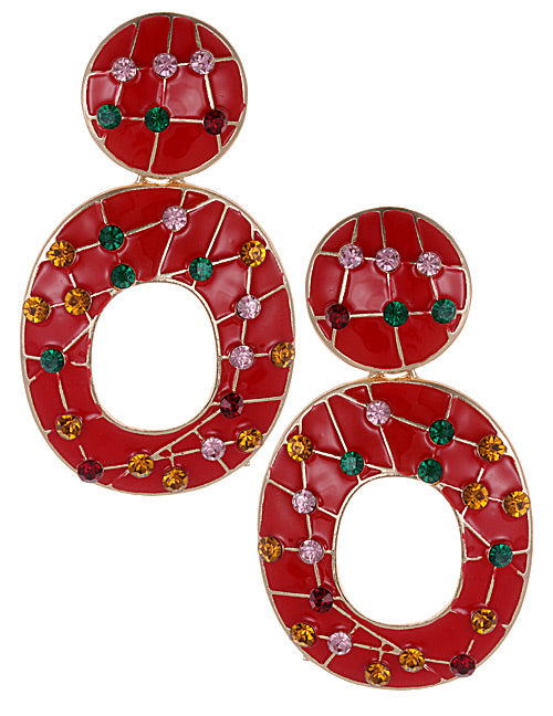ALB Jewel Red Abstract Earrings