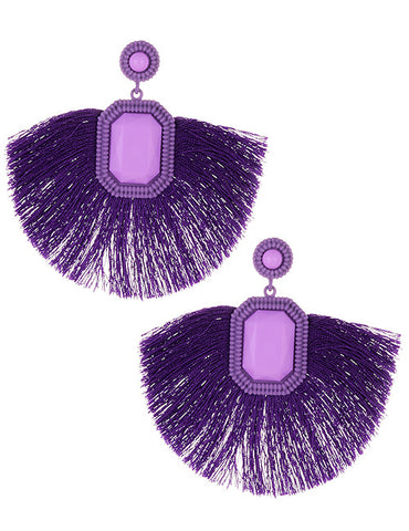 ALB Purple Jewel Tassel Earrings
