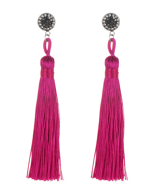 ALB Pink Diamante Tassel Earrings