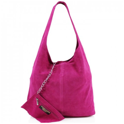 ALB Fuchsia Real Suede Slouch Bag