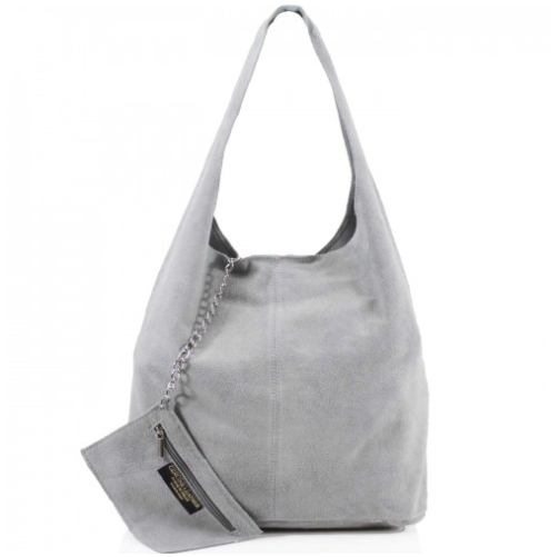 ALB Grey Real Suede Slouch Bag