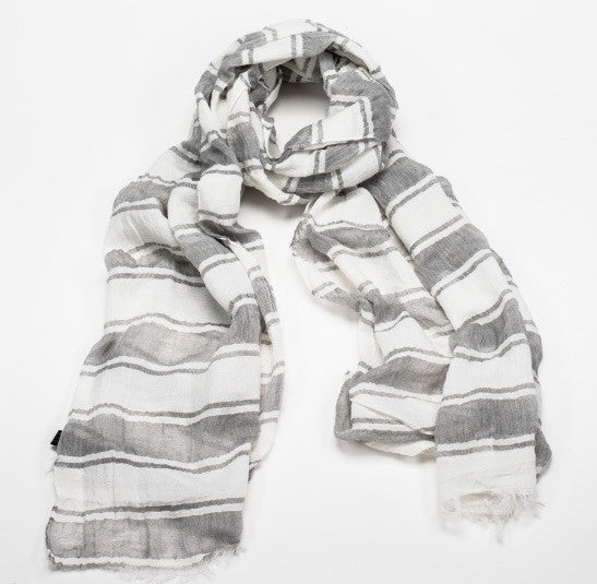 Grey White Stripe Scarf