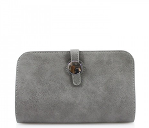 Tan Silver Button Purse with Card Holder