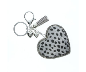 Grey Leopard Diamante Heart Keyring