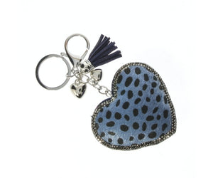 Blue Leopard Diamante Heart Keyring