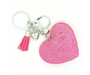 Pink Diamante Heart Keyring