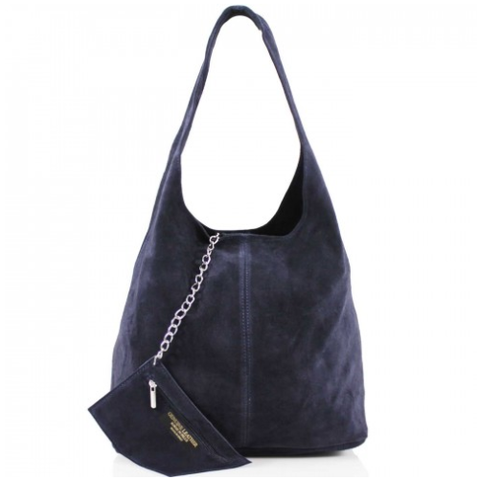 ALB Navy Real Suede Slouch Bag