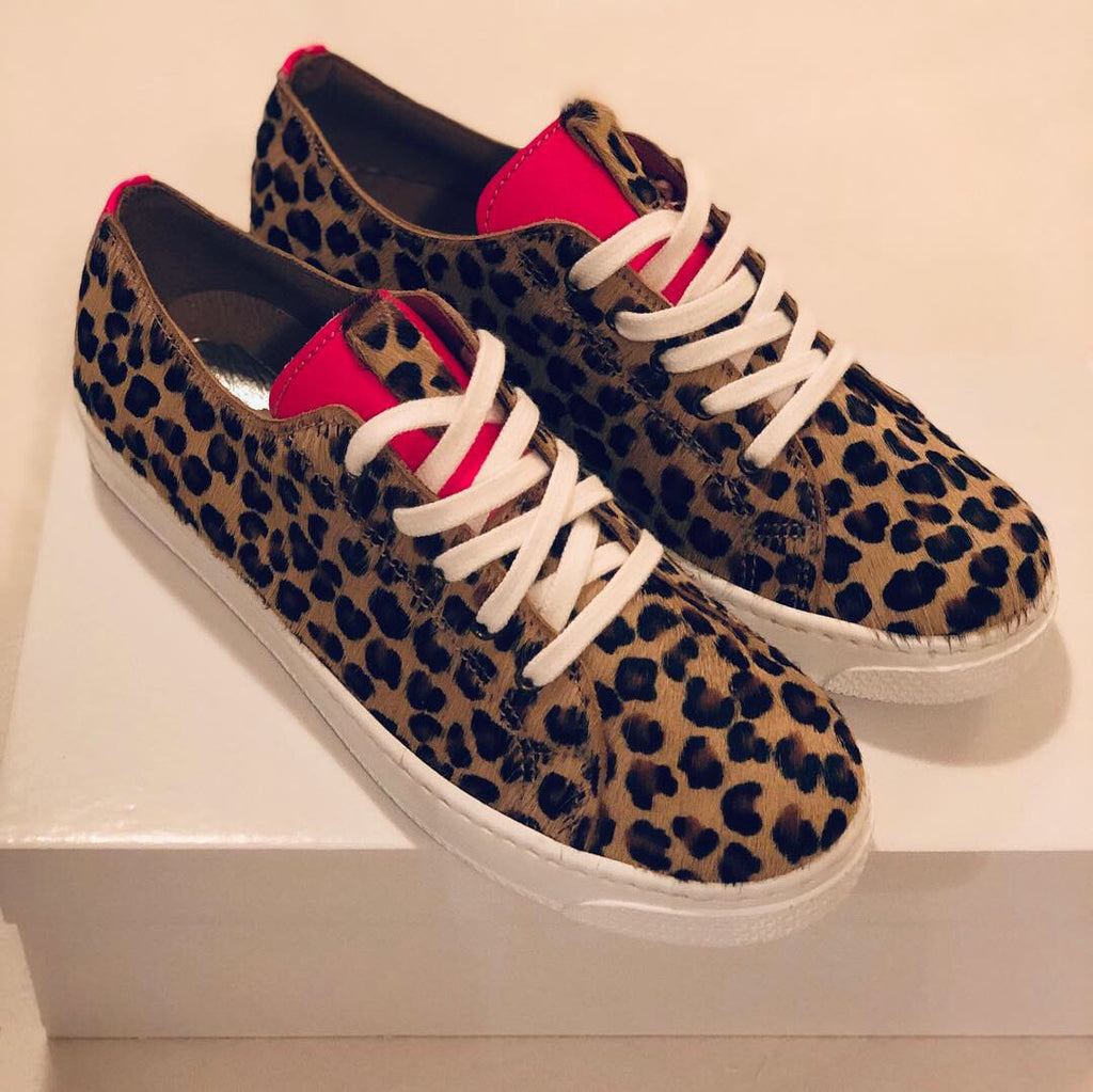ALBie Leopard Neon Pink Pony Hair Trainers