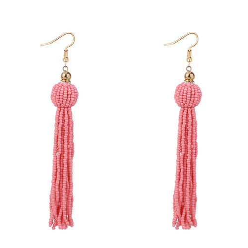 ALB Pale Pink Beaded Tassel Earrings