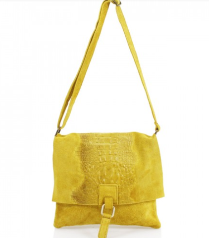 ALB Yellow Snakeskin Leather Crossbody Bag