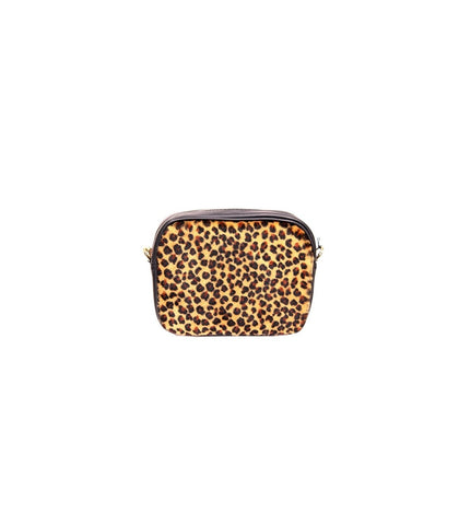ALB Cheetah Pony Hair Leather Cross Body Bag