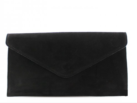 ALB Black Real Suede Clutch Bag