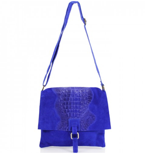 ALB Cobalt Blue Snakeskin Leather Crossbody Bag