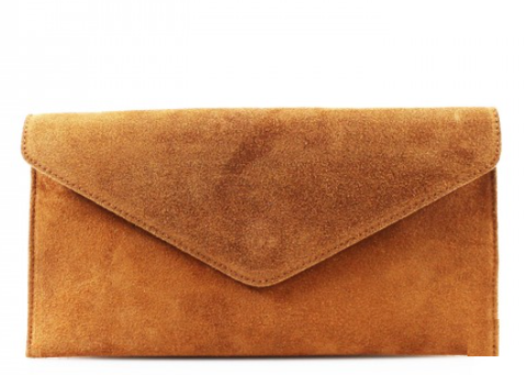 ALB Tan Real Suede Clutch Bag