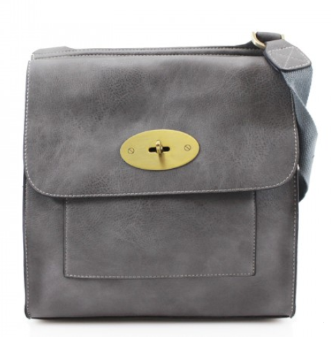 ALB Dark Grey Buckle Padlock Cross Body Bags