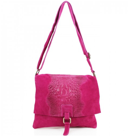 ALB Fuchsia Snakeskin Leather Crossbody Bag