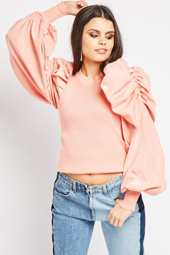 ALB Pink Puff Sleeve Fine Knit Top