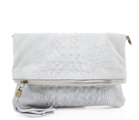 ALB Grey Snakeskin Leather Body Bag
