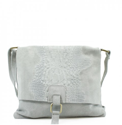 ALB Grey Snakeskin Leather Crossbody Bag