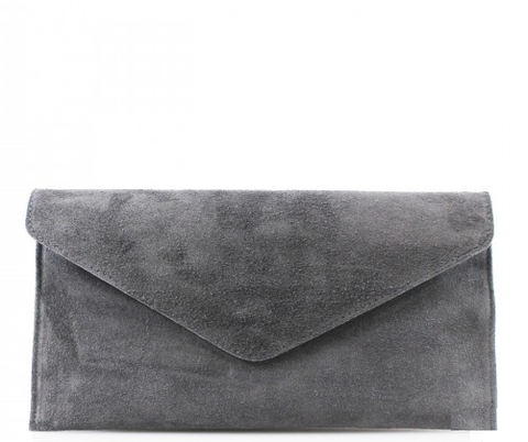 ALB Dark Grey Real Suede Clutch Bag