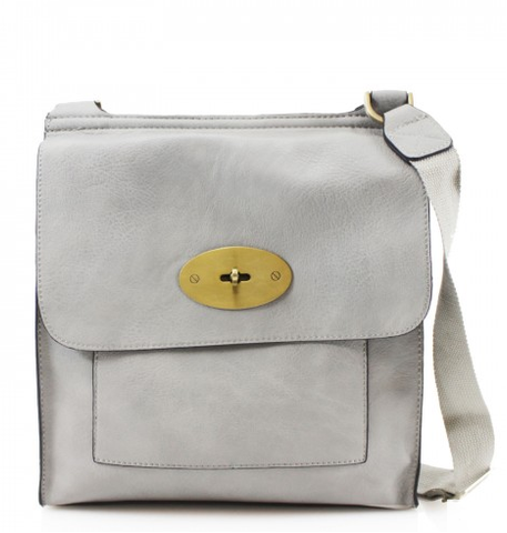 ALB Grey Buckle Padlock Cross Body Bags