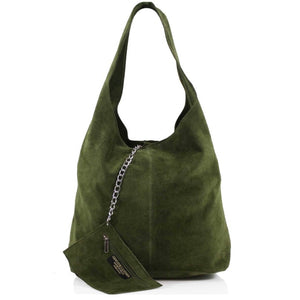 ALB Army Green Real Suede Slouch Bag