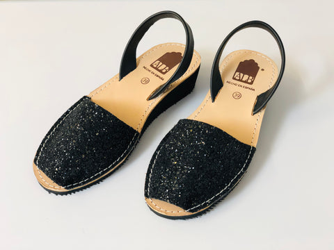 Black Glitter Low Wedge ALBies Range