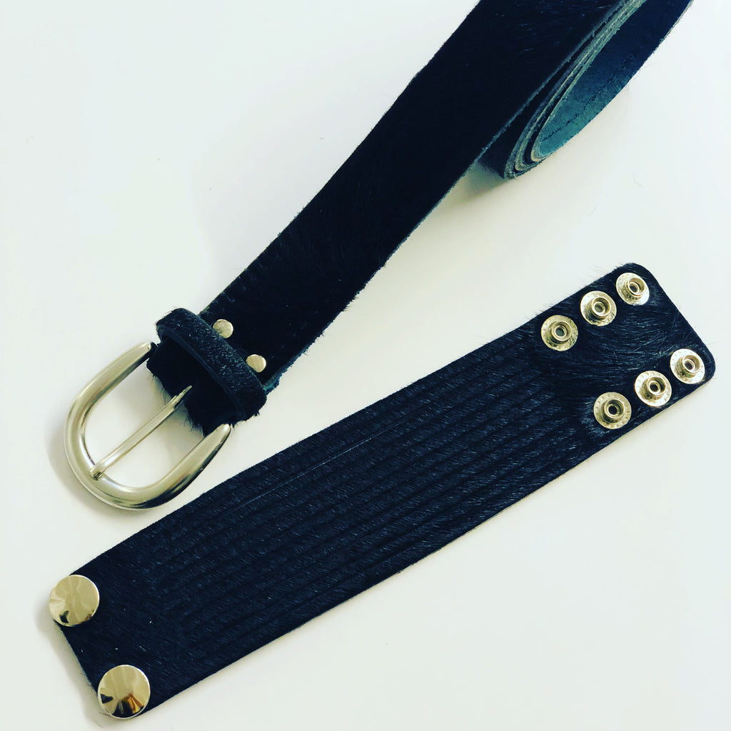 ALB Real Leather Black Pony Hair Belt